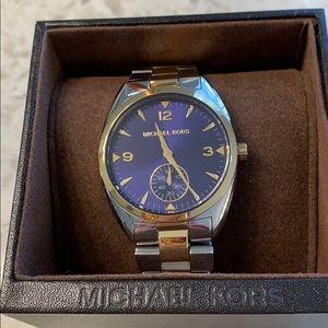 Michael Kors Silver & Gold, Blue face watch.